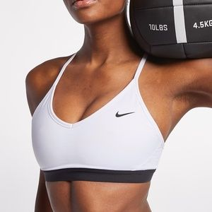 Nike White Indy Light-Support Sports Bra